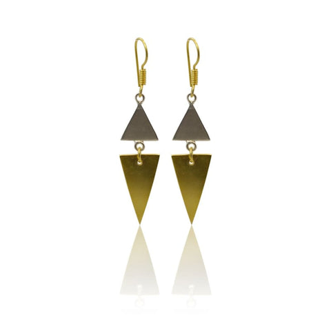 Brushed Metal Goddess Drops - long gold earrings