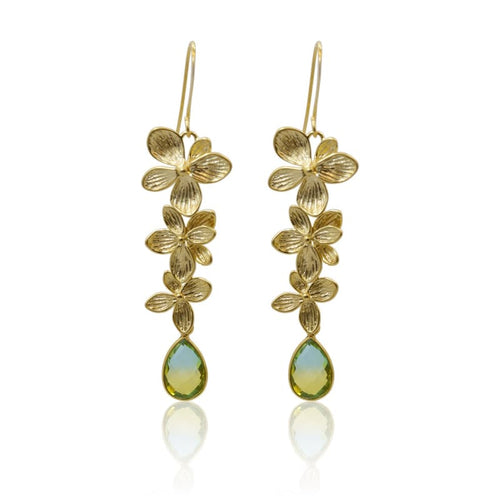 Tropical Aura 3 Bloom Plumeria Gold Earrings earrings