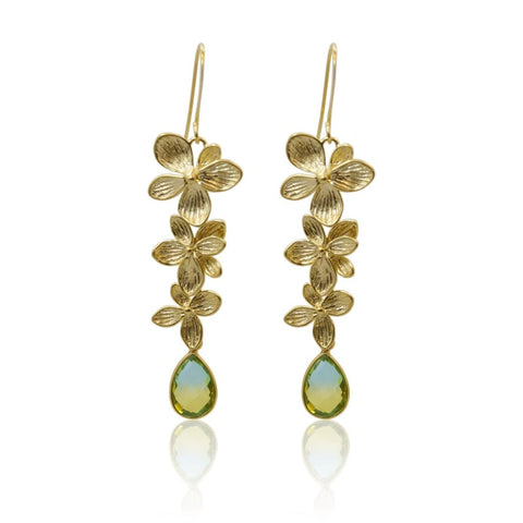 Tropical Aura Single Bloom Plumeria Gold Earrings