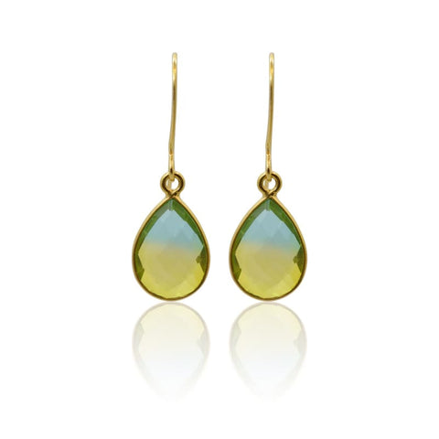 Light Green Aura Tassel Oval Drop Earrings - Silver