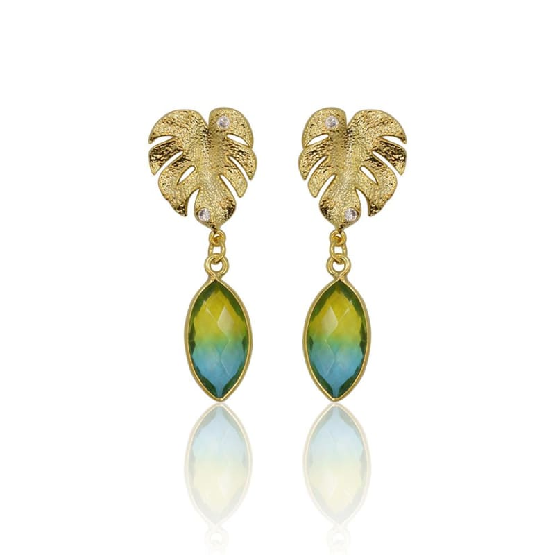 Tropical Aura Fern Marquis Studs - Gold Earrings earrings