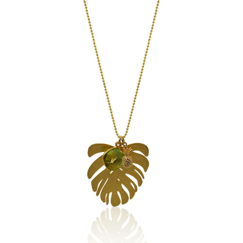 Tropical Aura Palm Leaf Gold Necklace 30 necklace