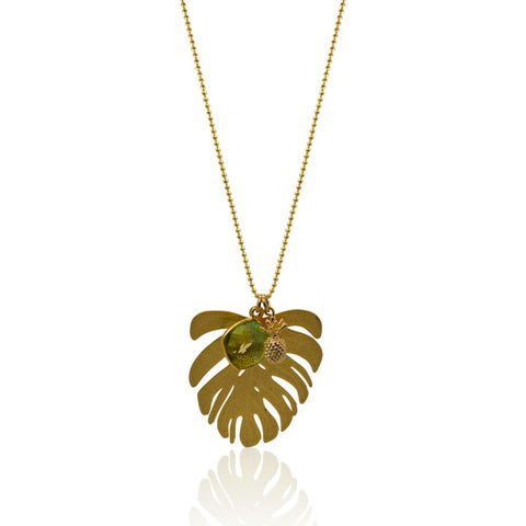 Tropical Aura Tassel Gold Necklace