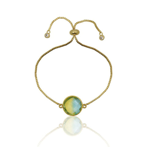 Tropical Aura Oval Gold Adjustable Bracelet
