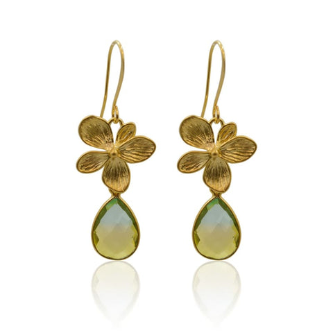 Peacock Aura Oval Gold Earrings - Long
