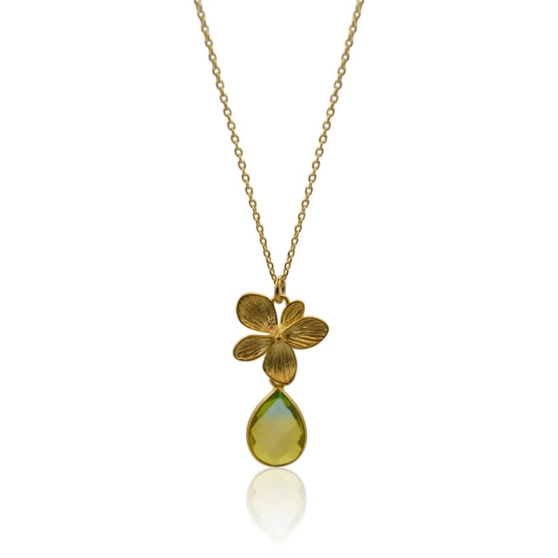 Tropical Aura Single Bloom Plumeria Gold Necklace necklace