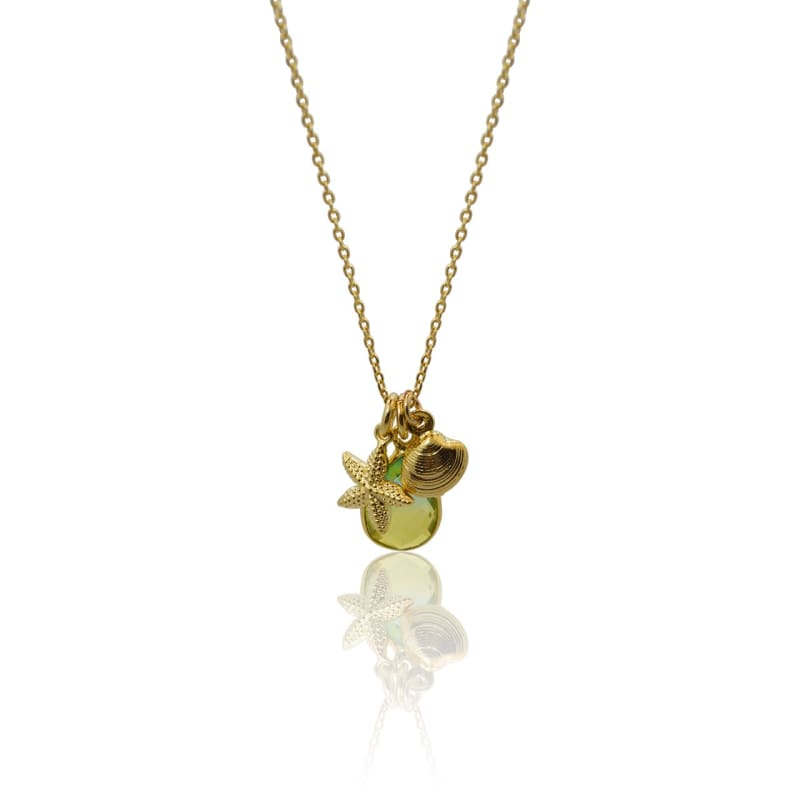 Tropical Aura Starfish & Shell Mini Locket Gold Necklace necklace