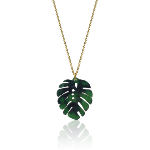 Peacock Aura Tropical Leaf Necklace
