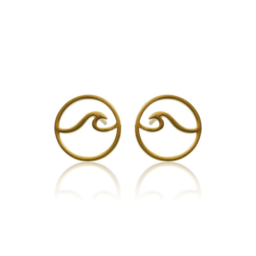 Wave Studs - Gold earrings