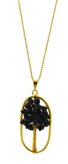 Black Agate Tree of Life Necklace