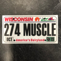 Wisconsin 274 MUSCLE License Plate Sticker.