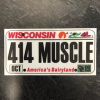 Wisconsin 414 MUSCLE License Plate Sticker.