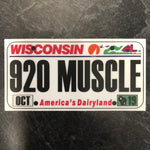 Wisconsin 920 MUSCLE License Plate Sticker.