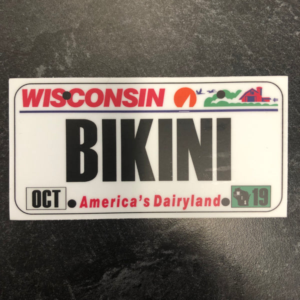 Wisconsin BIKINI License Plate Sticker.