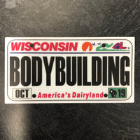Wisconsin BODYBUILDING License Plate Sticker.