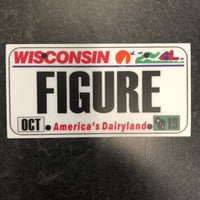 Wisconsin FIGURE License Plate Sticker.