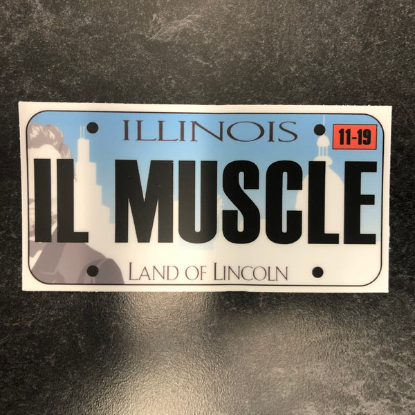 Illinois IL MUSCLE License Plate Sticker.