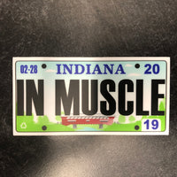 Indiana IN MUSCLE License Plate Sticker.