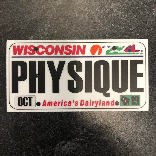 Wisconsin PHYSIQUE License Plate Sticker.
