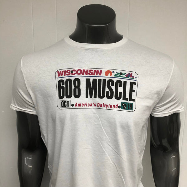 Wisconsin 608 MUSCLE License Plate shirt.