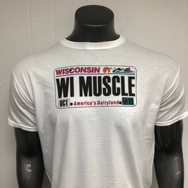 Wisconsin License Plate MUSCLE shirt.