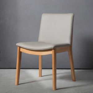 ATLAS Dining Chair Leather Light Pewter - OAK