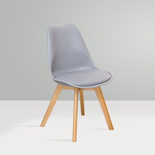 BILLIE Dining Chair Timber Legs - Grey
