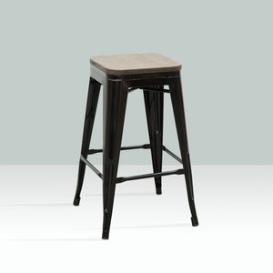ELI Bar Stool Timber Seat - Black