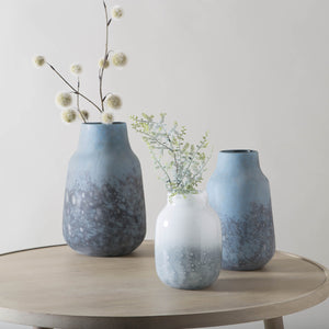 ELINA Frosted Glass Vase Blue set