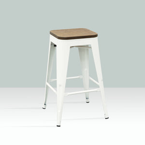 ELI Bar Stool Timber Seat - White