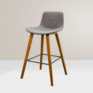 HAYLEY Timber Kitchen Bar Stool - Grey Fabric