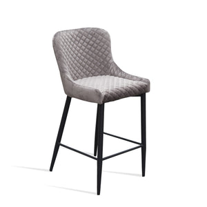 KEMP Kitchen Bar Stool Velvet Seat - Grey