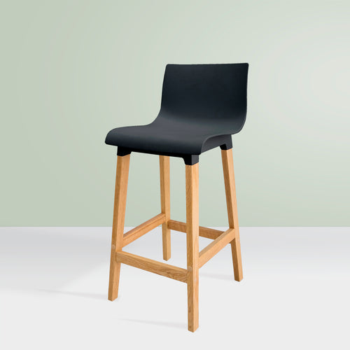 KINNA High-Back Kitchen Bar Stool - Black