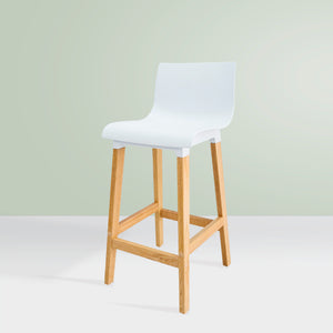 KINNA High-Back Kitchen Bar Stool - White