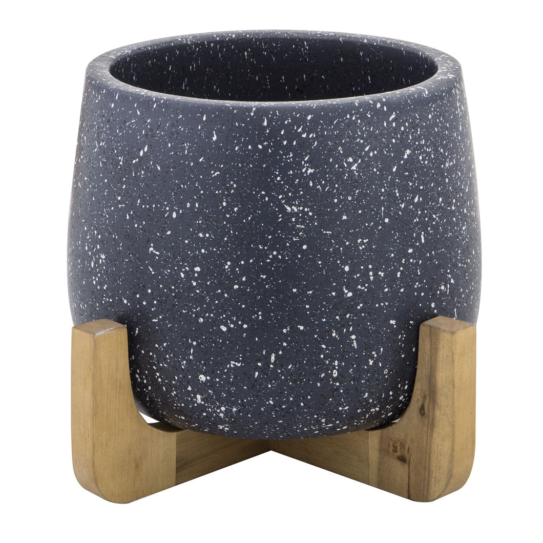 NALA Planter Pot on Wood Stand - Ceramic Blue