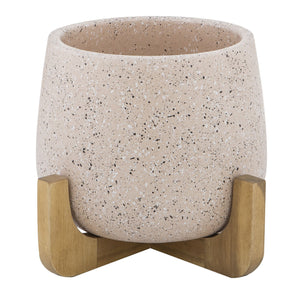 NALA Planter Pot on Wood Stand 20cm - Ceramic Pink