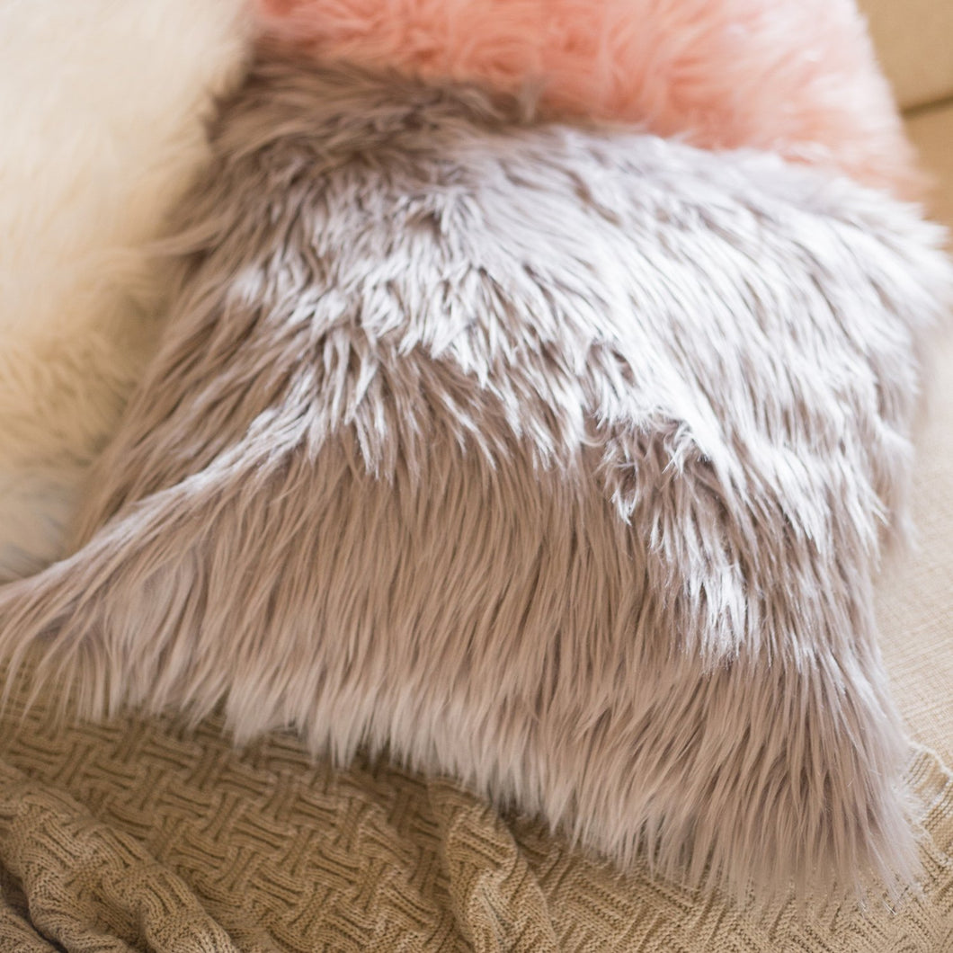 KONA faux fur cushions Pink Grey White - 50cm