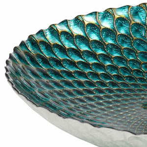 PAVO Platter Glass Teal and Gold