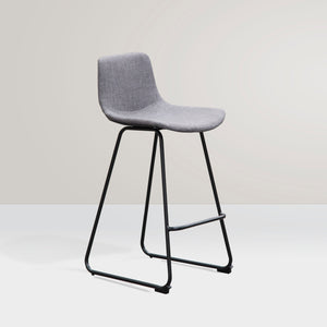 LUCA Bar Stool Fabric Seat Skid Base - Grey