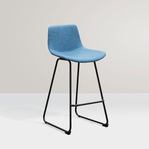 LUCA Bar Stool Fabric Seat Skid Base - Blue