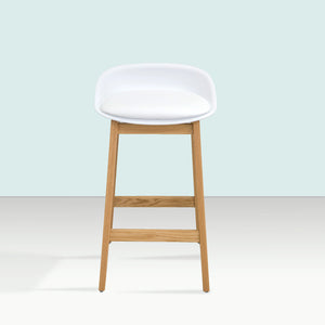 NIKO Timber Kitchen Bar Stool - White