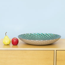 PAVO Platter Glass Teal and Gold - 40cm
