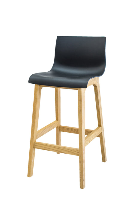 RHEA Timber Kitchen Bar Stool - Black