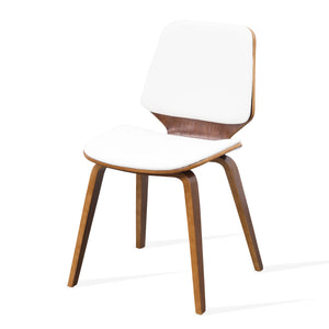 ROCKY Dining Chair Timber Walnut Finish - WHITE