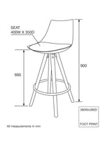 MADDISON High-Back Kitchen Bar Stool - Grey