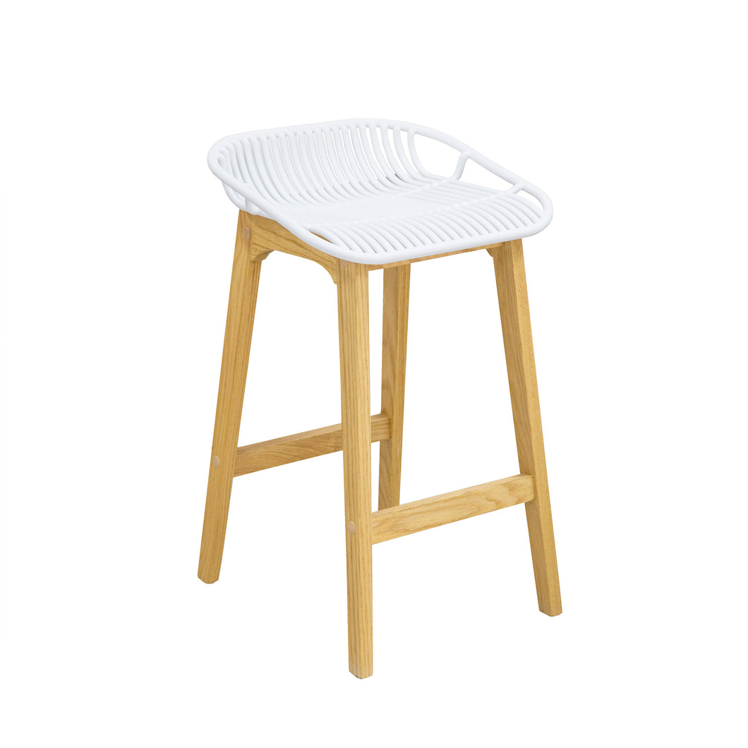 WIRE Timber Kitchen Bar Stool - White