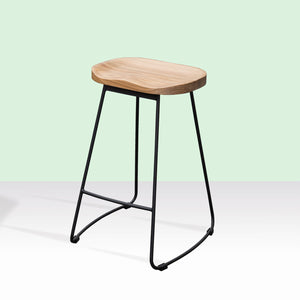 ZEKE Bar Stool Timber Low Back Seat Skid Base - Oak