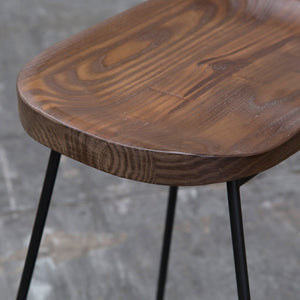 ZEKE Bar Stool Timber Low Back Seat Skid Base - Walnut