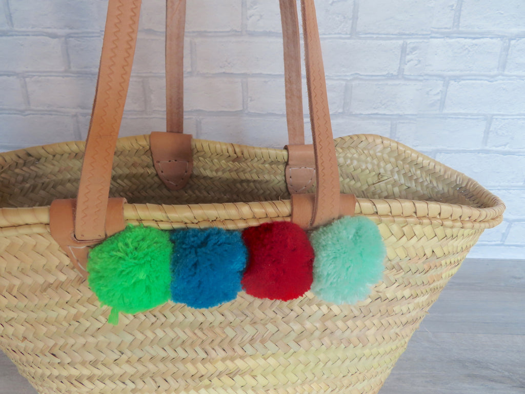 Moroccan Handmade Beach Straw Tote Basket With Pom Poms