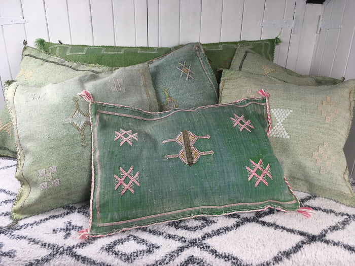 Cactus Silk Cushion-Green